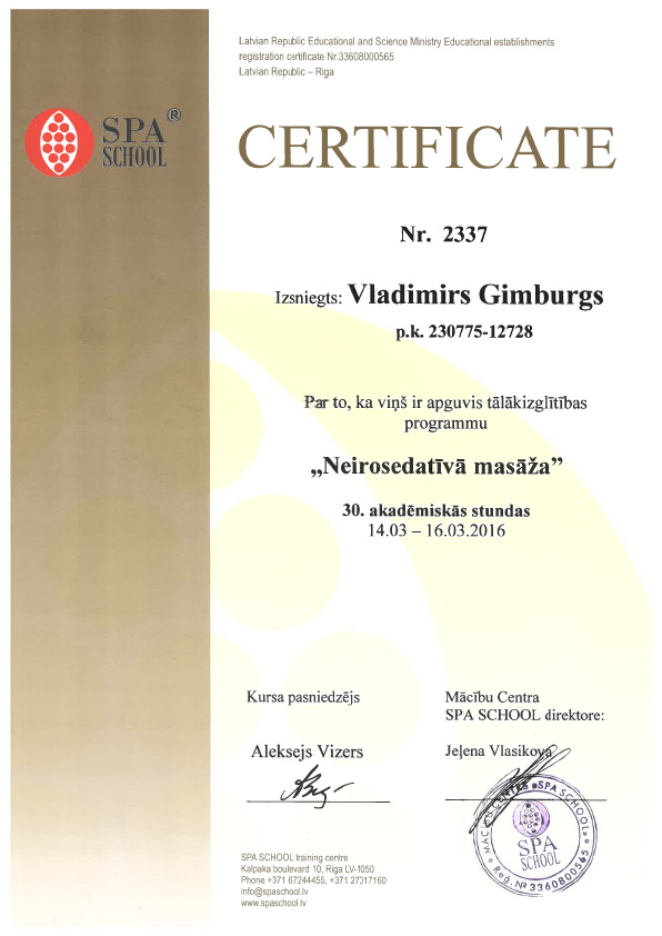 massage master certificate